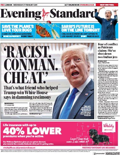 London Evening Standard Newspaper Front Page (UK) for 1 March 2019