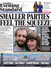 London Evening Standard (UK) Newspaper Front Page for 1 April 2015