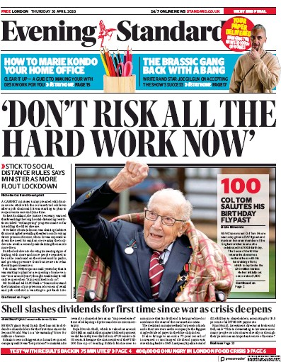 London Evening Standard Newspaper Front Page (UK) for 1 May 2020