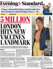 London Evening Standard front page for 1 May 2021