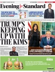 London Evening Standard (UK) Newspaper Front Page for 1 June 2018