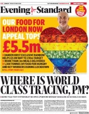 London Evening Standard (UK) Newspaper Front Page for 1 June 2020