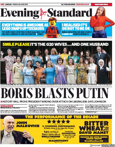 London Evening Standard Newspaper Front Page (UK) for 1 July 2019