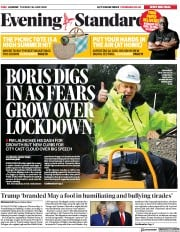London Evening Standard front page for 1 July 2020