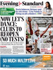 London Evening Standard () Newspaper Front Page for 1 July 2021