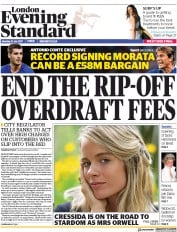 London Evening Standard (UK) Newspaper Front Page for 1 August 2017