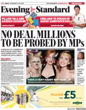 London Evening Standard (UK) Newspaper Front Page for 1 August 2019
