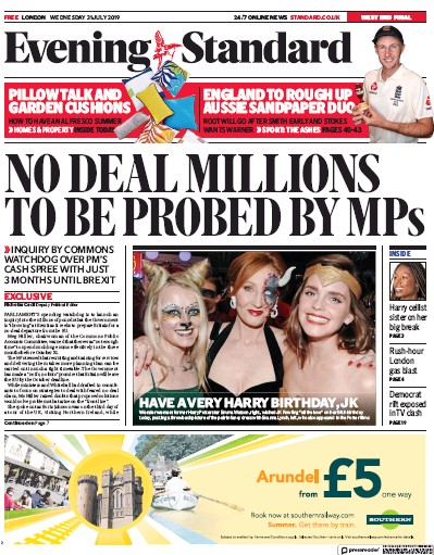 London Evening Standard Newspaper Front Page (UK) for 1 August 2019