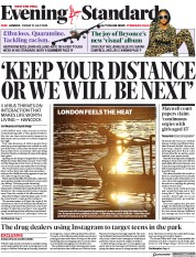 London Evening Standard (UK) Newspaper Front Page for 1 August 2020