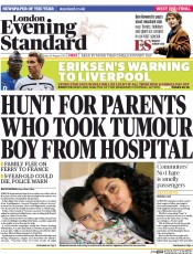 London Evening Standard (UK) Newspaper Front Page for 1 September 2014