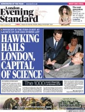 London Evening Standard (UK) Newspaper Front Page for 20 October 2014