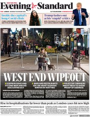 London Evening Standard front page for 20 October 2020