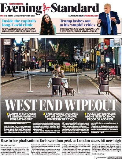 London Evening Standard Newspaper Front Page (UK) for 20 October 2020