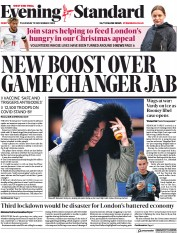 London Evening Standard front page for 20 November 2020