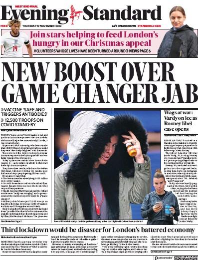 London Evening Standard Newspaper Front Page (UK) for 20 November 2020