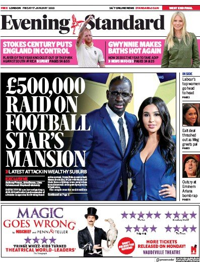 London Evening Standard Newspaper Front Page (UK) for 20 January 2020