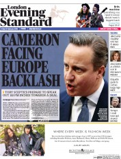 London Evening Standard (UK) Newspaper Front Page for 20 February 2016