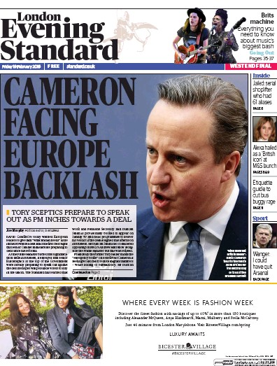 London Evening Standard Newspaper Front Page (UK) for 20 February 2016