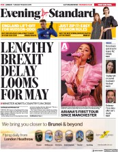 London Evening Standard () Newspaper Front Page for 20 March 2019