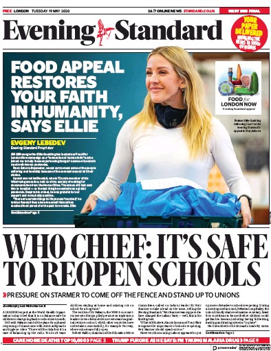London Evening Standard Newspaper Front Page (UK) for 20 May 2020