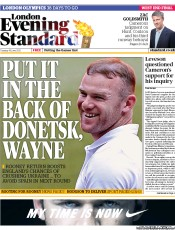 London Evening Standard Newspaper Front Page (UK) for 20 June 2012