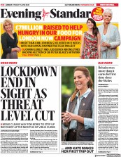 London Evening Standard front page for 20 June 2020