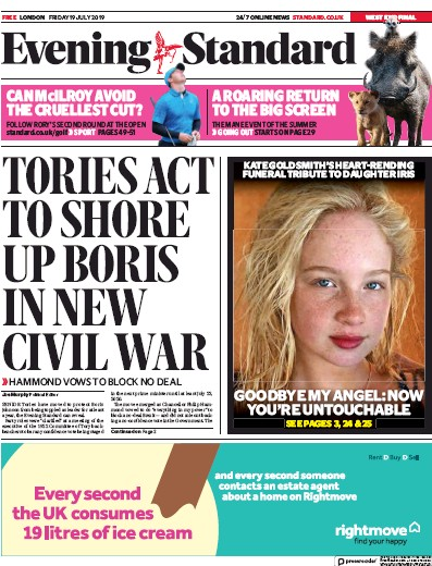 London Evening Standard Newspaper Front Page (UK) for 20 July 2019