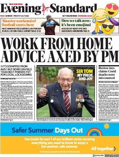 London Evening Standard Newspaper Front Page (UK) for 20 July 2020