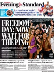 London Evening Standard () Newspaper Front Page for 20 July 2021
