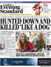 London Evening Standard (UK) Newspaper Front Page for 20 August 2014