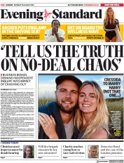 London Evening Standard (UK) Newspaper Front Page for 20 August 2019
