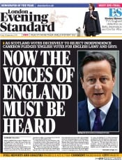London Evening Standard (UK) Newspaper Front Page for 20 September 2014