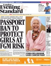 London Evening Standard (UK) Newspaper Front Page for 21 October 2014