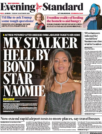 London Evening Standard Newspaper Front Page (UK) for 21 October 2020