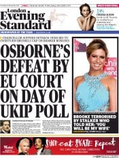 London Evening Standard (UK) Newspaper Front Page for 21 November 2014