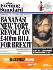 London Evening Standard (UK) Newspaper Front Page for 21 November 2017