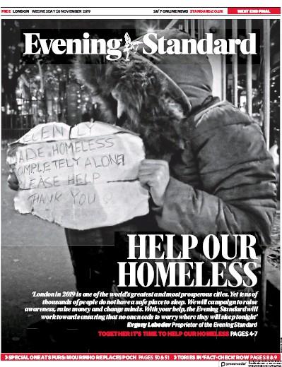 London Evening Standard Newspaper Front Page (UK) for 21 November 2019