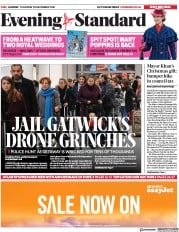 London Evening Standard (UK) Newspaper Front Page for 21 December 2018