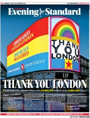 London Evening Standard front page for 21 December 2020