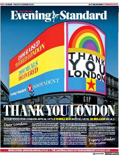 London Evening Standard Newspaper Front Page (UK) for 21 December 2020