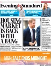 London Evening Standard (UK) Newspaper Front Page for 21 January 2020