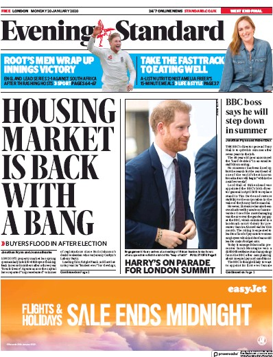 London Evening Standard Newspaper Front Page (UK) for 21 January 2020