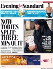 London Evening Standard () Newspaper Front Page for 21 February 2019