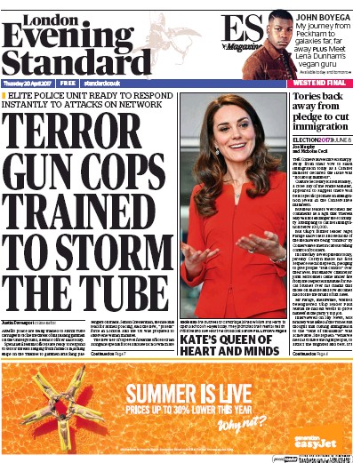 London Evening Standard Newspaper Front Page (UK) for 21 April 2017