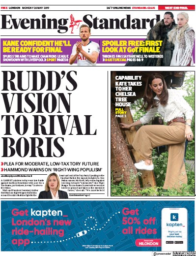 London Evening Standard Newspaper Front Page (UK) for 21 May 2019
