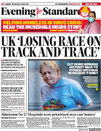 London Evening Standard Newspaper Front Page (UK) for 21 May 2020