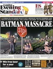 London Evening Standard Newspaper Front Page (UK) for 21 July 2012