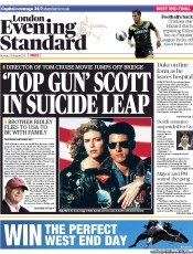 London Evening Standard () Newspaper Front Page for 21 August 2012