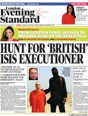 London Evening Standard (UK) Newspaper Front Page for 21 August 2014