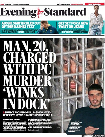 London Evening Standard Newspaper Front Page (UK) for 21 August 2019